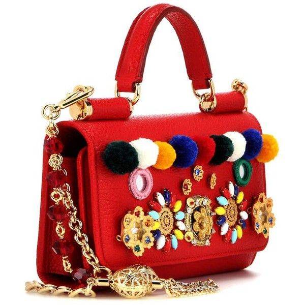 Dolce & Gabbana Sicily Von Bag Embellished Leather Smartphone Shoulder... (4.980.395 COP) ❤ liked on Polyvore featuring bags, handbags, shoulder bags, purses, leather shoulder handbags, leather man bag, red purse, hand bags and red leather purse
