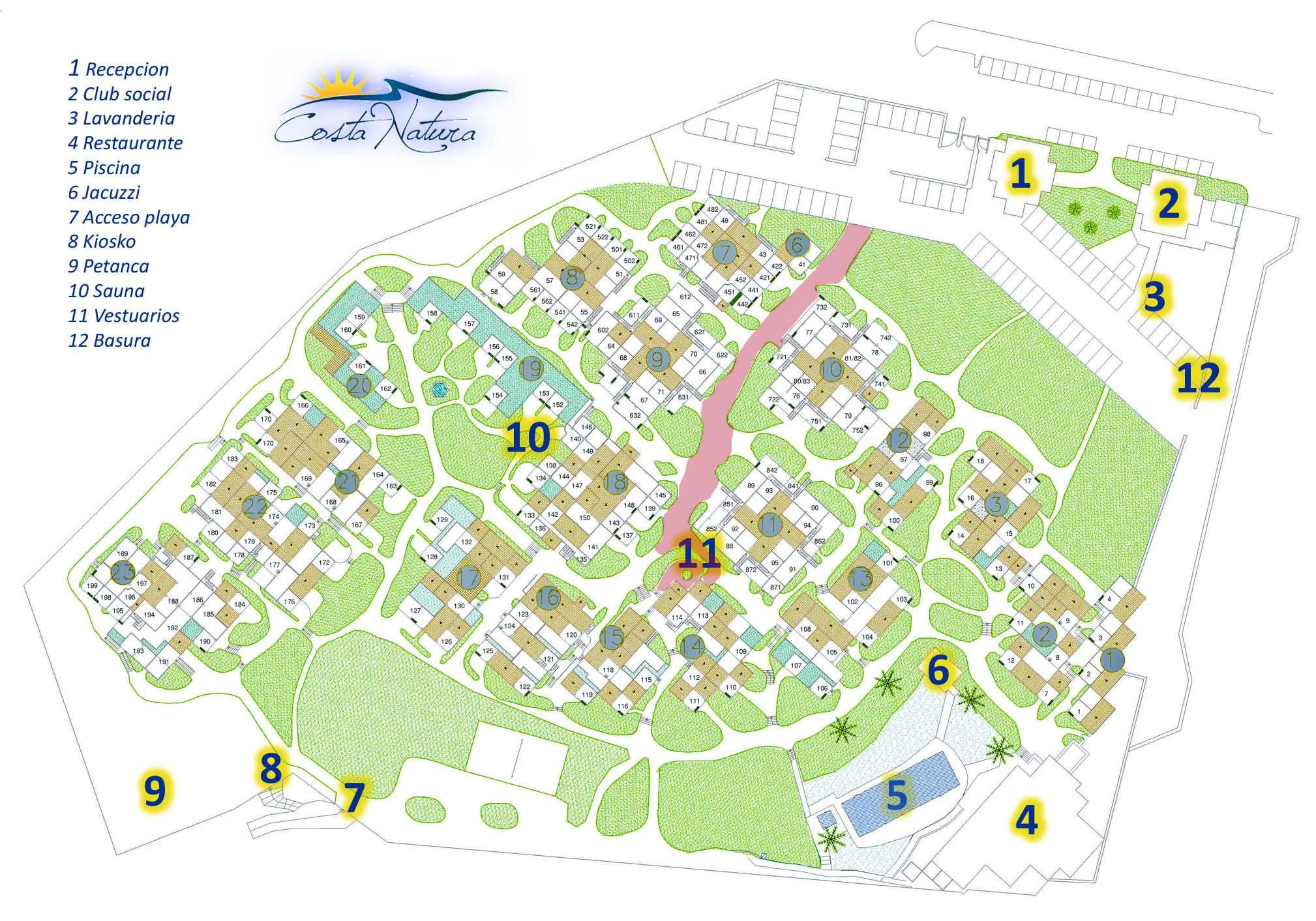 Map of the naturist resort of Costa Natura next to the nudist beach