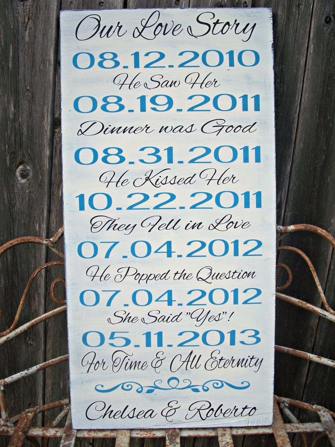 PERSONALIZED - Our Love Story - Wedding Sign, Important Dates, Bridal Shower Gift. $69.95, via Etsy.