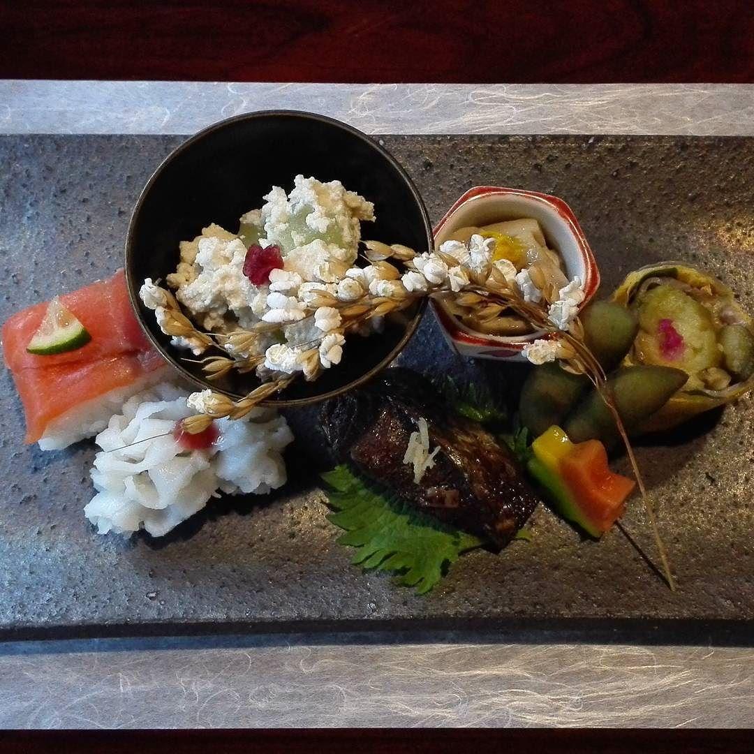 Hassun from Shoraian Arashiyama. Seasonal ingredients include black soy beans eggplants mushrooms eel salmon sushi and tofu with Japanese green grapes. #kyoto #kaiseki #arashiyama #japan #thejapanesecuisine by kxiao2.0