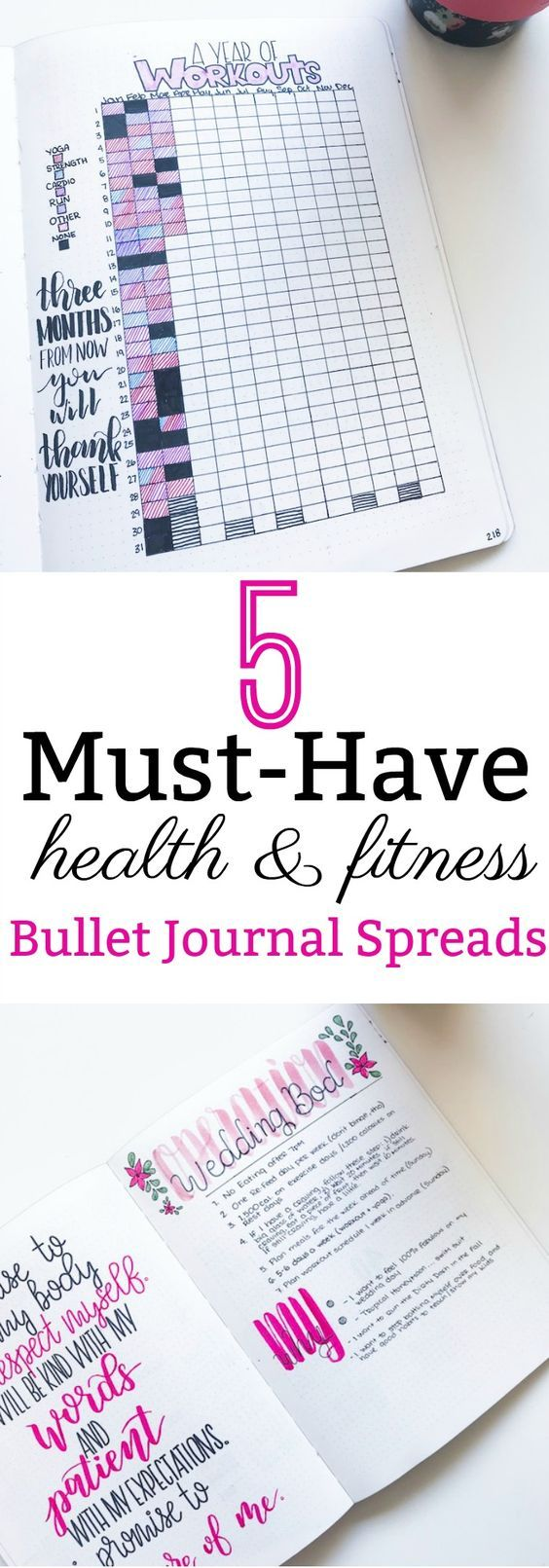 5 Must-Have Health and Fitness Bullet Journal Spreads - The Petite Planner #healthandfitness