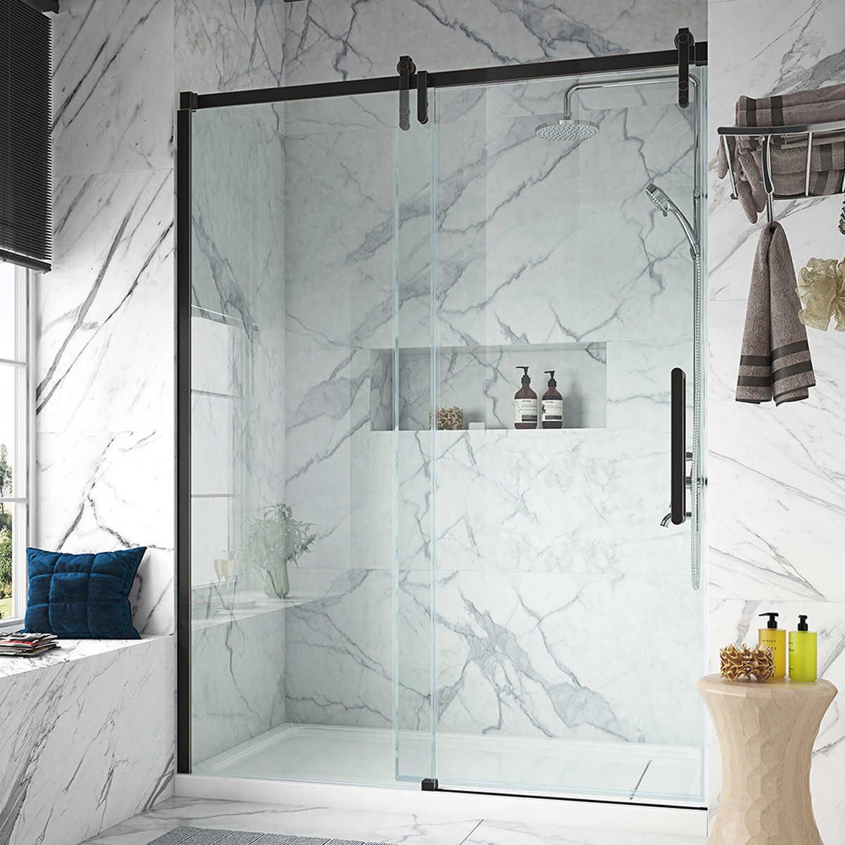 Ove Sheffield 60 Tempered Glass Shower Door In 2020 Shower Doors Glass Shower Doors Glass Shower
