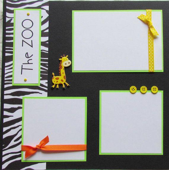 ZOO 12x12 Premade Scrapbook Pages KiD BoY GiRL by JourneysOfJoy, $14.50