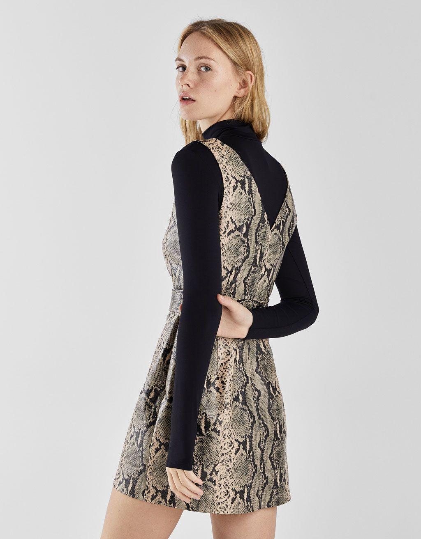 c0ecbd6267 Snakeskin print faux leather dress - Bershka  newin  new  fashion  clothes   animal  print  animalprint  snake  leopard  trend  trendy  cool  2018   tendencia ...