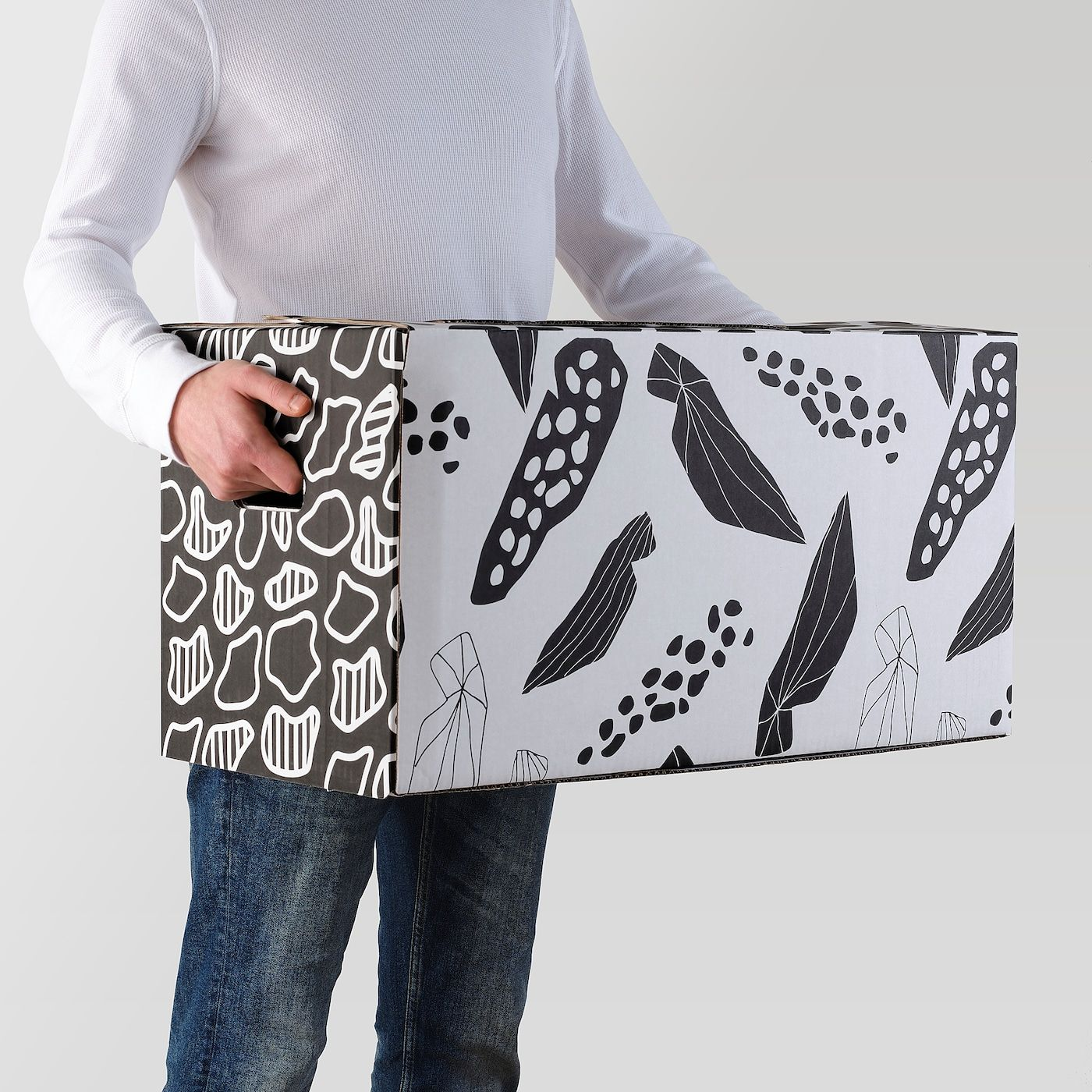 Ombyte Carton D Emballage Blanc Noir Emballage Carton Boite Demenagement Et Ikea