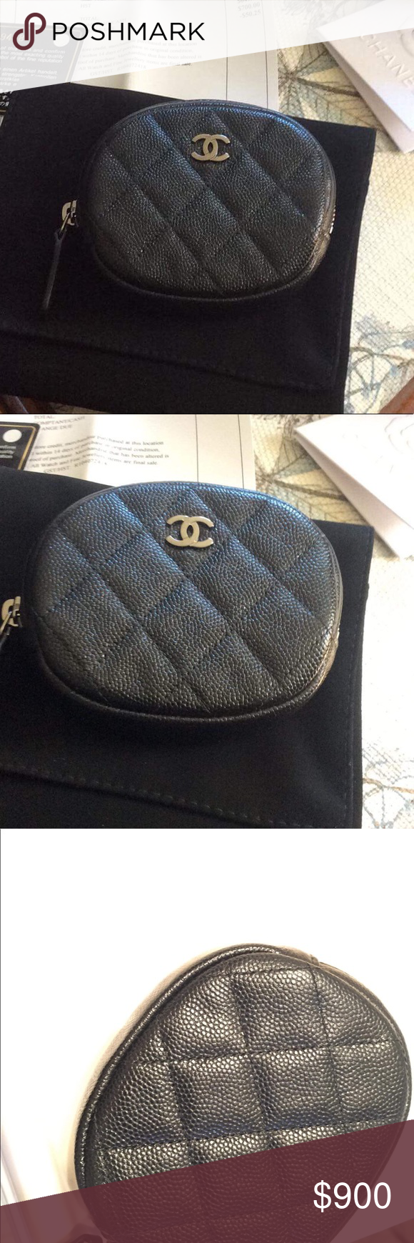 6e57602dc00f Authentic NIB Chanel Iridescent Caviar Coin Purse NIB Chanel round coin  case in iridescent black caviar