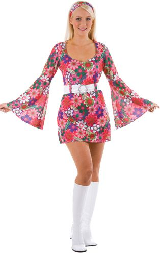 Ladies Flower Power 60s 70s Costume Disco Retro Groovy Girl Dance Fancy Dress