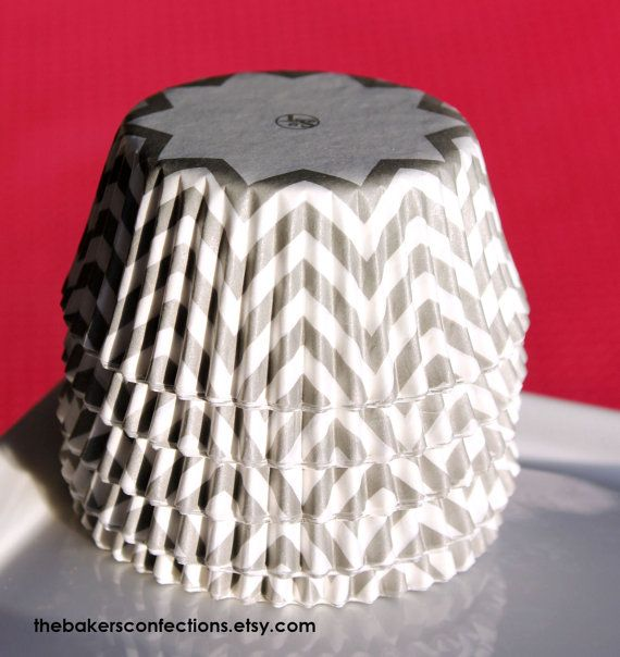 Gray Chevron Cupcake Liners  ZigZag Baking by thebakersconfections, $3.99 @Sherri Alderson  Im going to get these!