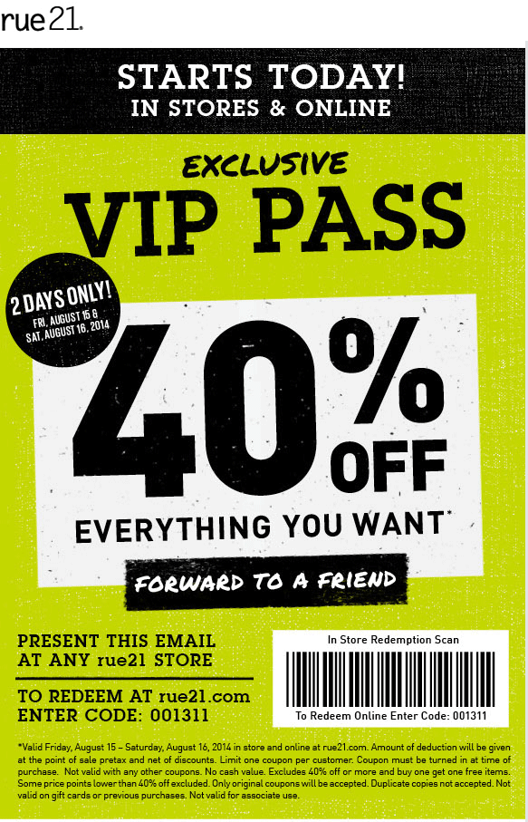 picture regarding Rue 21 Printable Coupons titled Pinned August 15th: 40% off nearly anything at #rue21, or on the web