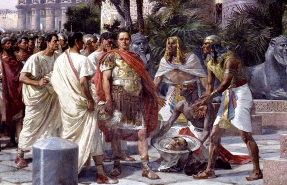 Julio César, a su llegada a Egipto, es obsequiado con la cabeza de Pompeyo  48 a.C.  Giuseppe Sciuti