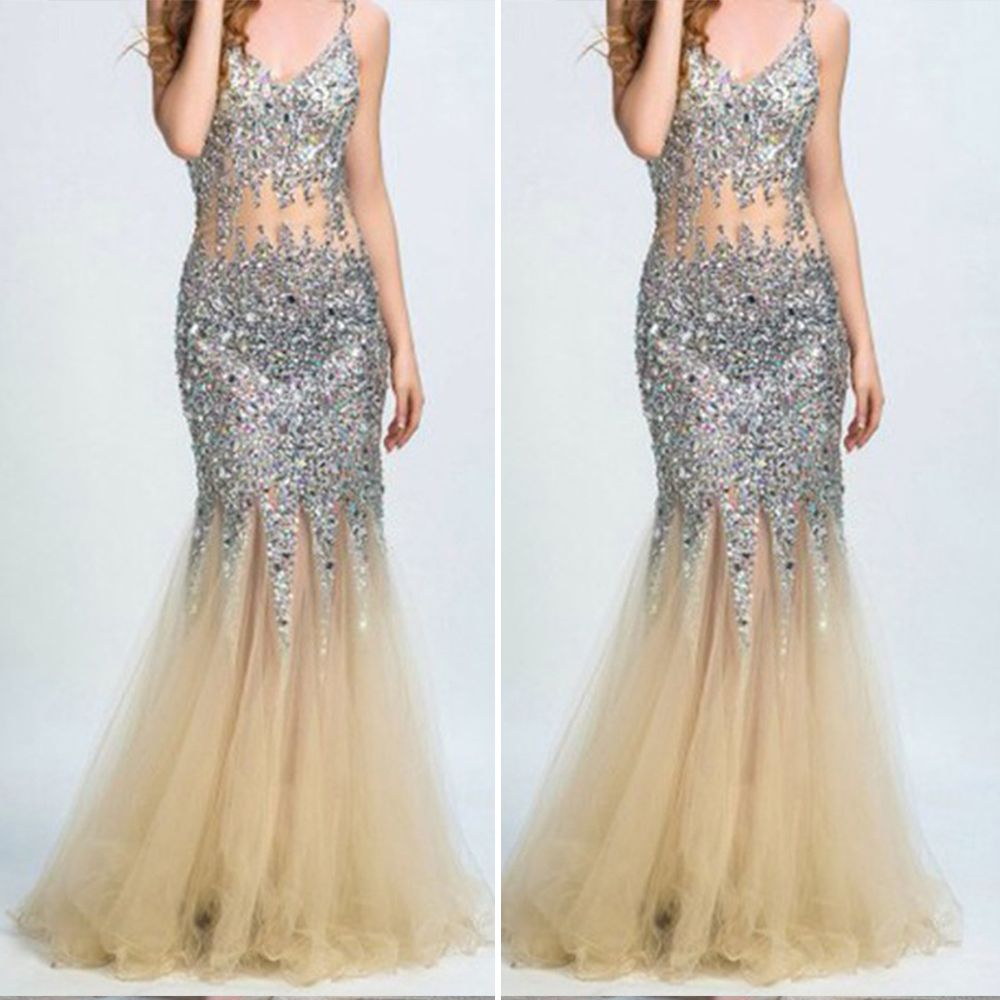 Click to buy ucuc silver and gold sexy prom dress sequined with