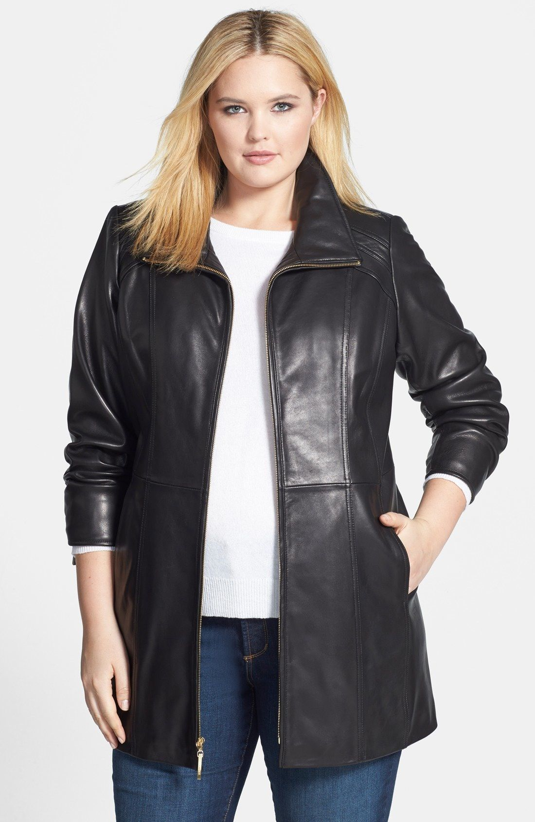 Ellen Tracy Leather Walking Coat (Plus Size) available at