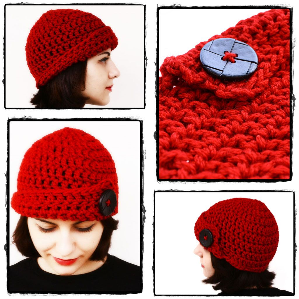 365 Crochet!: Red Bulky Skullcap with Big Black Button -free crochet ...
