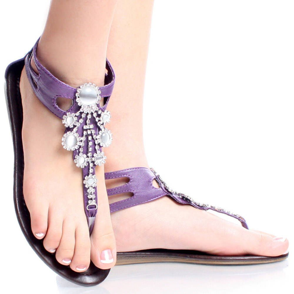 Purple Open Toe Thong Summer Bead Embellish Sandal Womens Flat Shoes