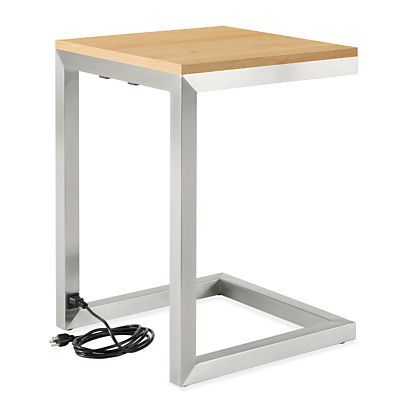 Portica C Table With Power And USB Outlets   Modern End Tables   Modern  Living Room Furniture   Room U0026 Board