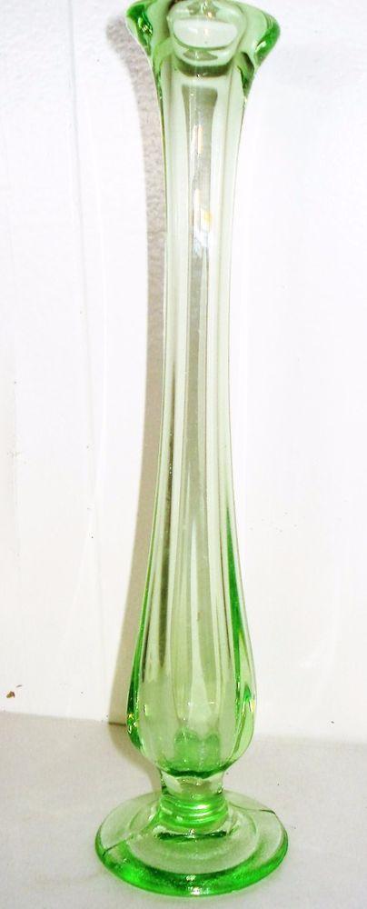 Vintage Usa Green Glass Bud Vase Beautiful Pattern Vaseline Glass