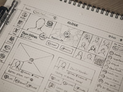 Grid layout sketch of Close found on Dribbble.