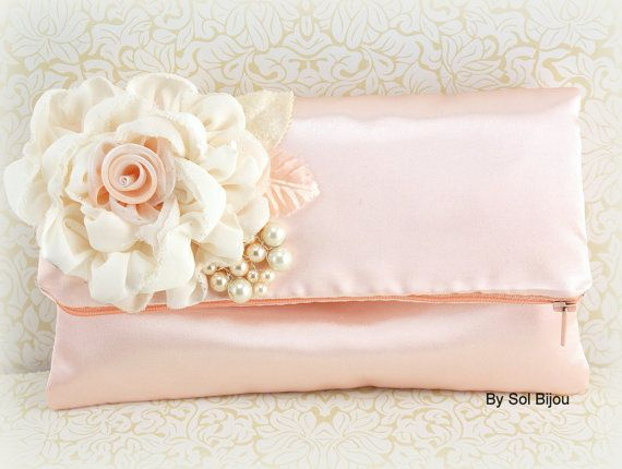 2eb657995a Bridal Clutch in Ivory and Soft Peach with Satin