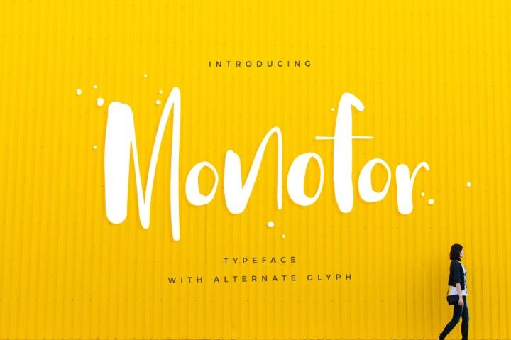 Monofor is a brush lettered font that's bold, and powerful. Beautiful font available at The Hungry Jpeg.