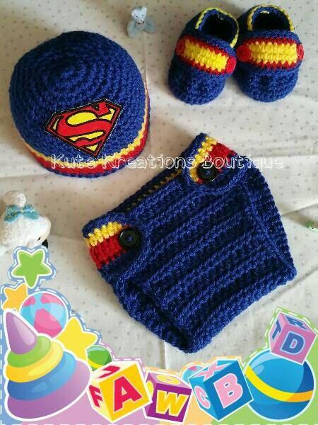 Inspirado Superman ganchillo bebé sombrero del pañal cubierta zapatos  conjunto 545738a78a9