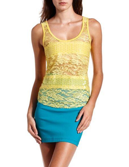 Sequin & Lace Stripe Tank: Charlotte Russe