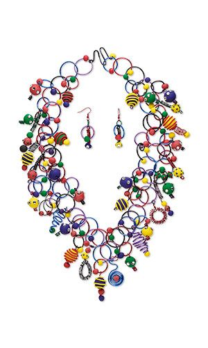 Jewelry Design BibStyle Necklace and Earring Set with Premo