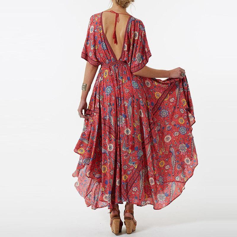 9e17c593cabecd Boho Vintage Bird Floral Print Maxi Dress – 🌸 BOHO JOY 🌸