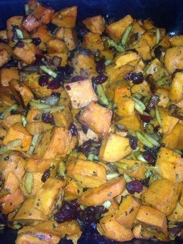 Sweet Potato Crunch casserole with craisins and carmalized onions