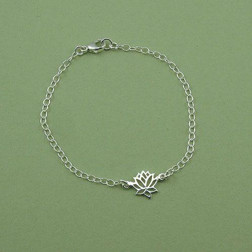 Tiny Lotus Bracelet sterling silver chain bracelet by TheZenMuse