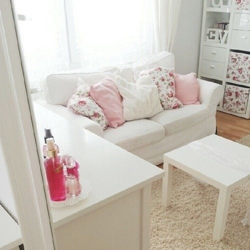 Pink White Floral Pillows Cute Sofa Nice Couch Settee Girly Tumblr Small Couch In Bedroom Funky Home Decor Home