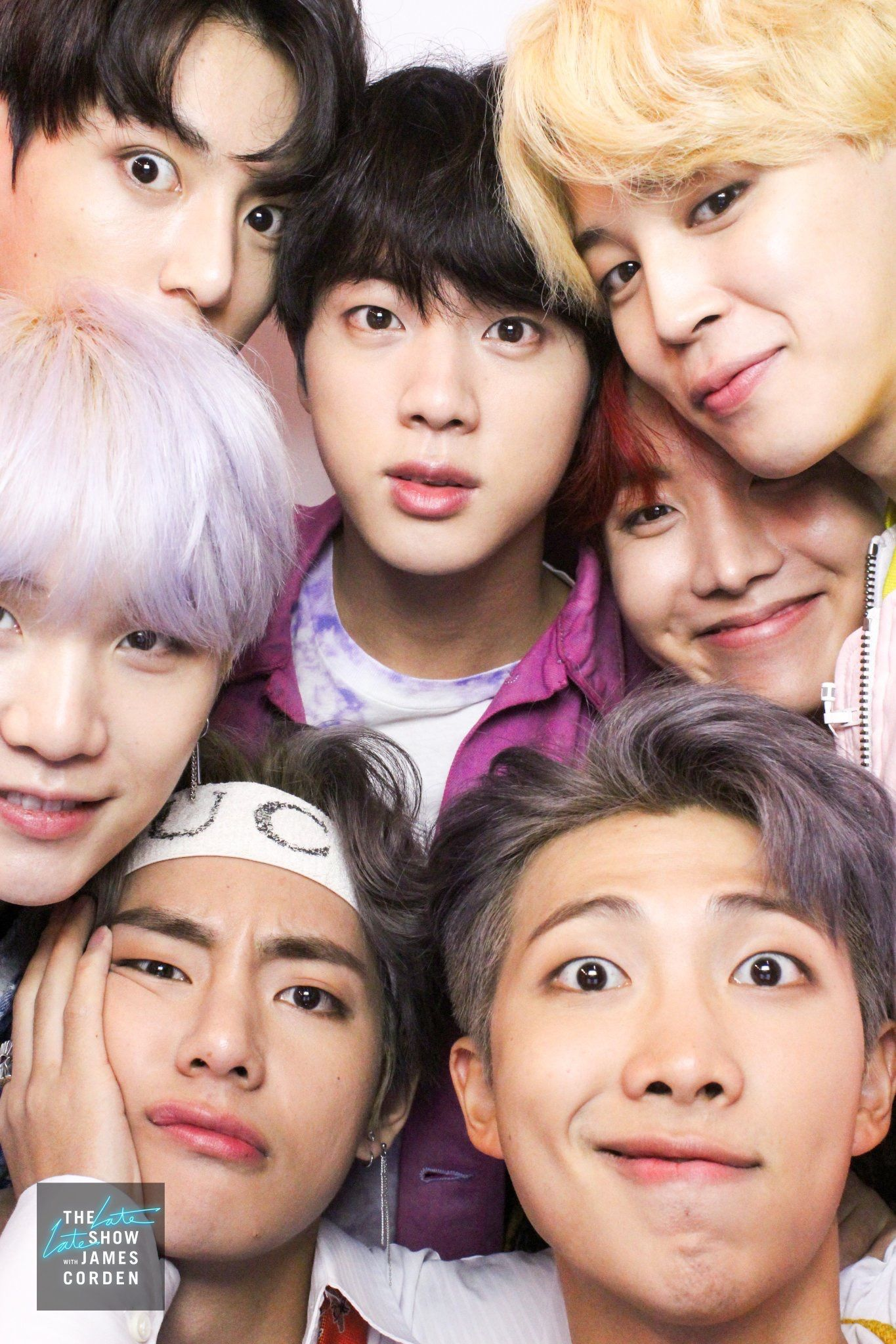 180322 @latelateshow Twitter update • Digging through the #LateLateShow photo booth archives we found this delightful pic of @BTS_twt from their November visit when they performed and played Flinch!