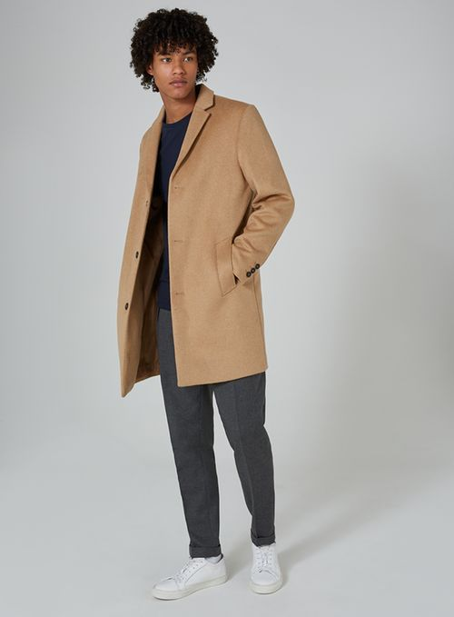 Camel overcoat contains wool