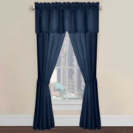 Levinsohn Easy-Care Microfiber Tailored Window Panel, Navy, 63 inch, Blue