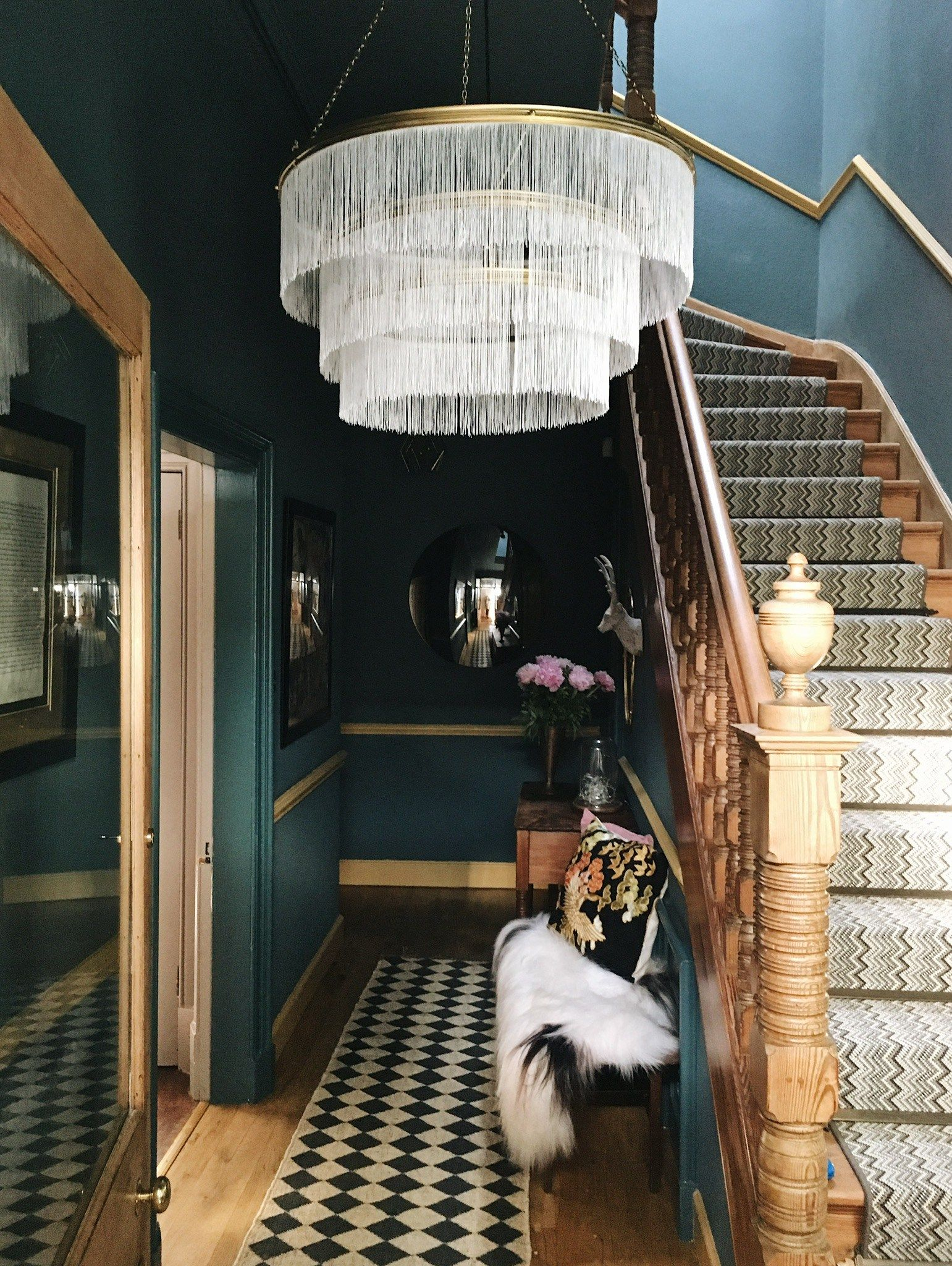 Deep colour beautiful hall useful article love the colour the rug that references classic hallway tiles farrow and ball inchyra blue hallway