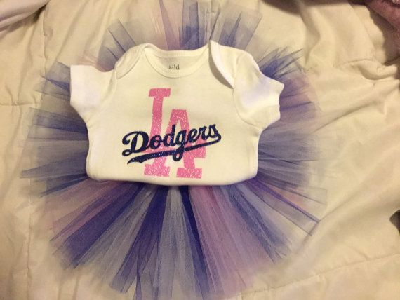 LA Dodgers glitter onesie&tutu set by PinkTreesAndPeonies on Etsy