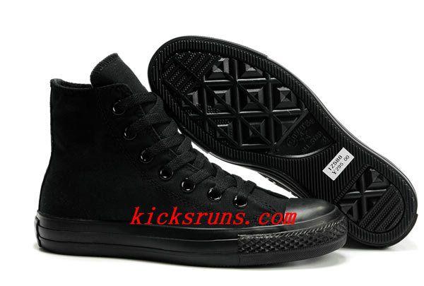 Black Converse All Star High Tops Monochromatic #Canvas