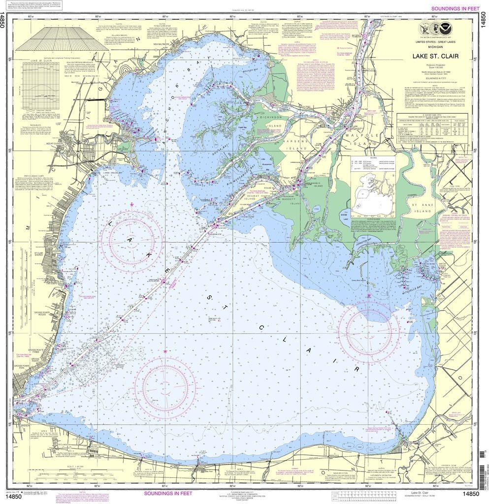 lake st clair map chart Noaa Nautical Chart 14850 Lake St Clair Nautical Map Nautical lake st clair map chart