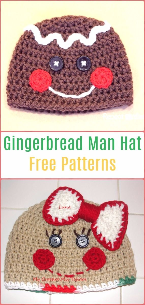 Crochet Gingerbread Man Hat Free Pattern Crochet Christmas Hat