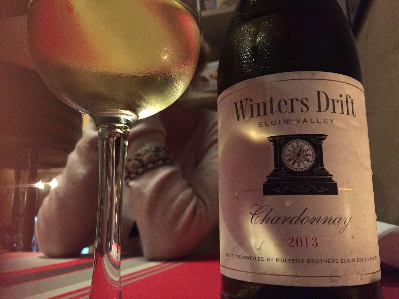 Elgin Valley chardonnay, nice an' easy. Winters Drift. In Italian restaurant in Hermanus.