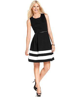 Calvin Klein Dress Sleeveless Belted A Line Stripe Womens Fall