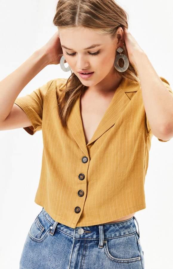 e4762caf LA Hearts Linen Button Down Top Birthday Ideas, Stripe Print, Cute Tops,  Pacsun