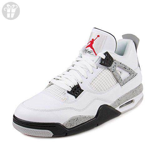 Nike Hombres Air Jordan  4 Retro Cemento Blanco  Jordan Rojo Fuego De Cuero Negro 66e1d9