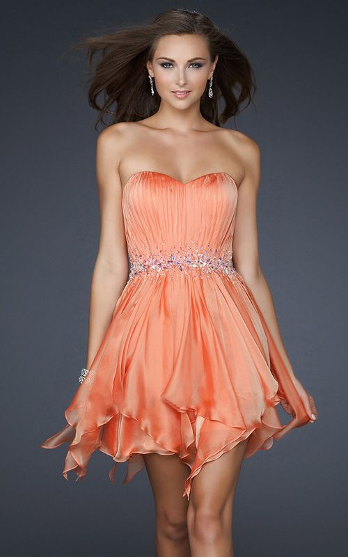 Robe de Cocktail Courte Orange Avec Ceinture SV3322     Clothing ... 5f86827c879