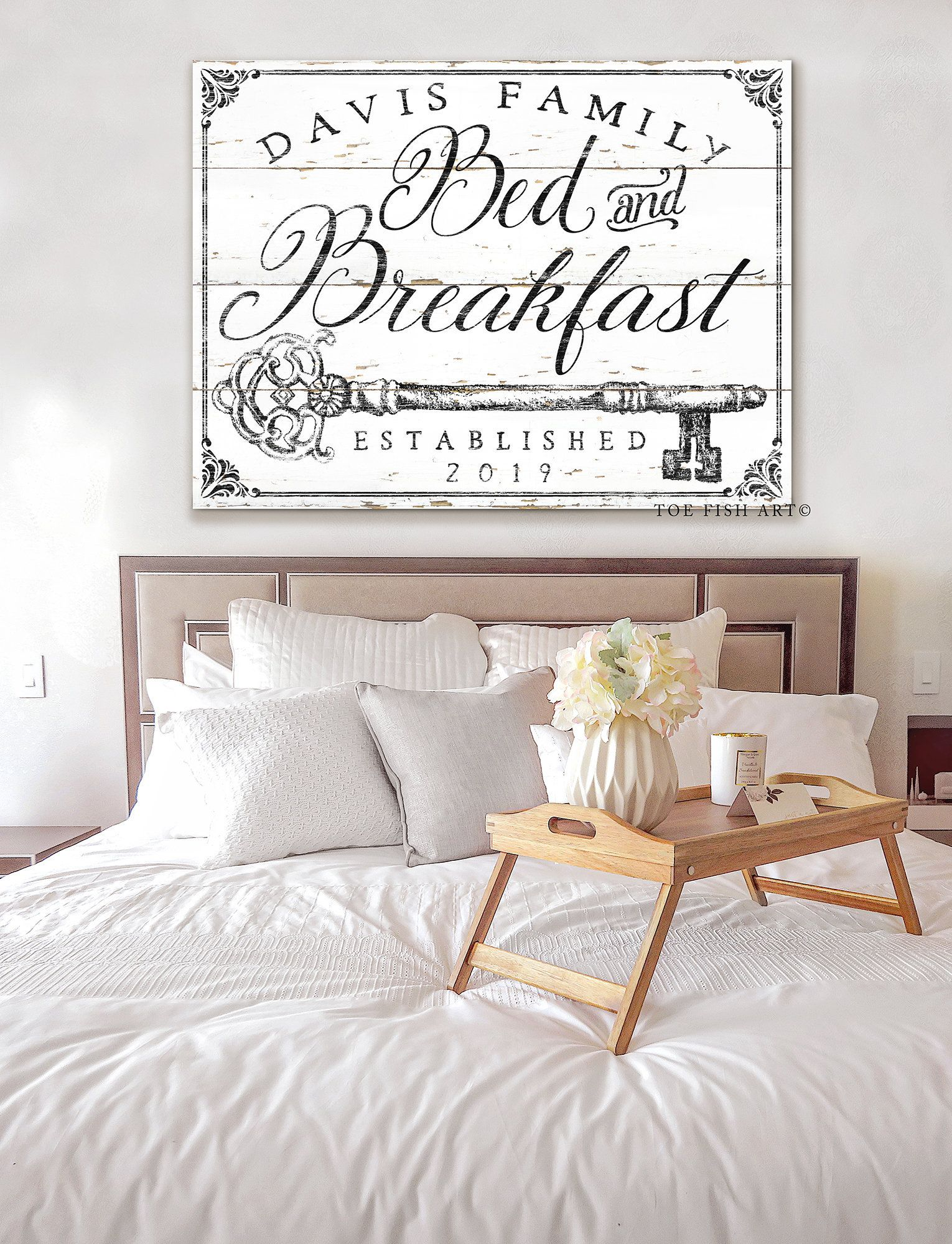 Bed And Breakfast Sign Rustic Farmhouse Wall Decor Name Etsy