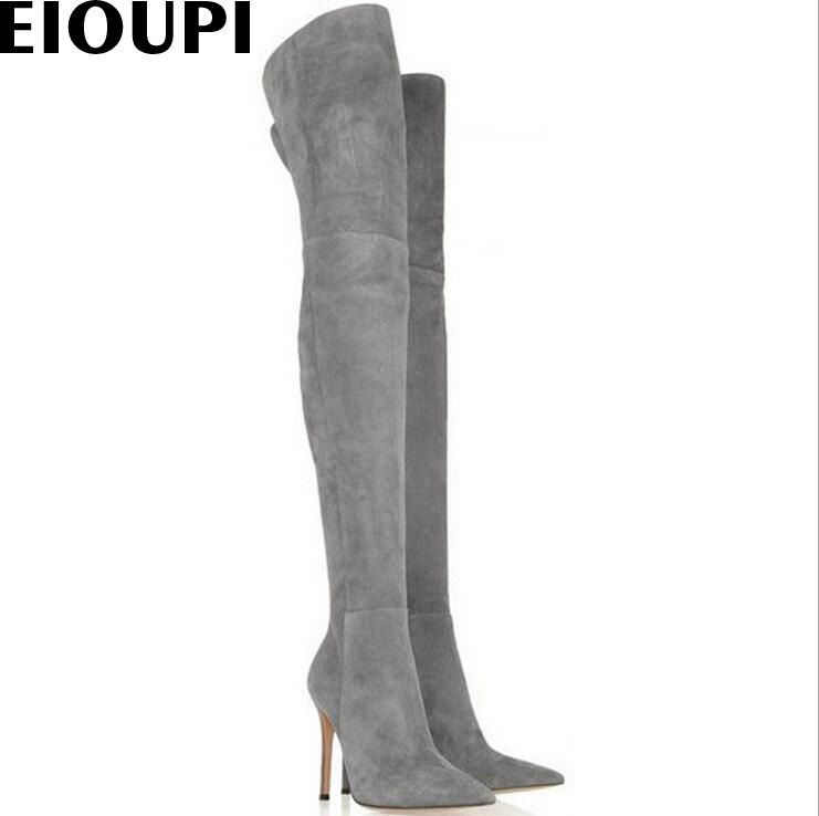 EIOUPI spring autumn winter snow boots nubuck suede leather women over the knee thigh high boot Odfa0436 #Thigh high boots