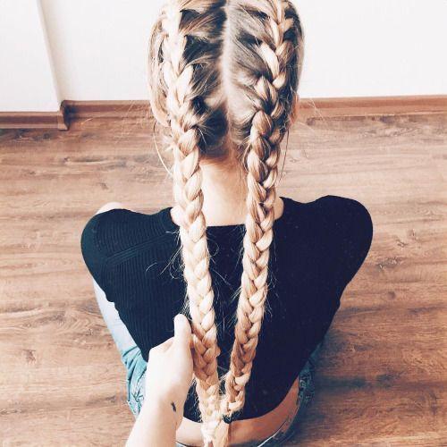 Cute Double Braids Hair Styles Long Hair Styles Hair Inspiration
