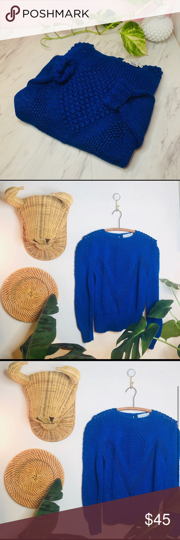 Vintage 90's Funky Bold Shoulder Blue Sweater Vintage Retro 90's Funky Bold Shoulder Blue Sweater  • Tags were cut out but would fit a medium or...