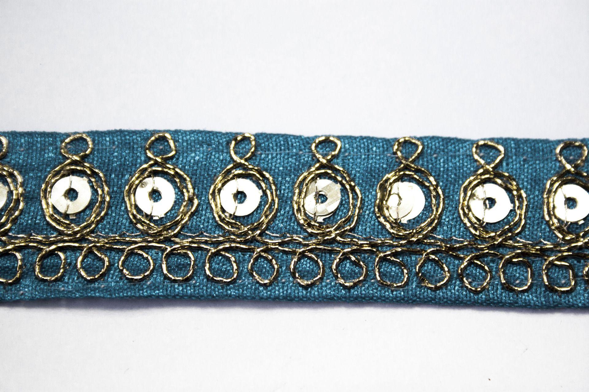 Galon Indien Turquoise Sequin Doré 2 cm x 1 m : Galons par crea-loisirs