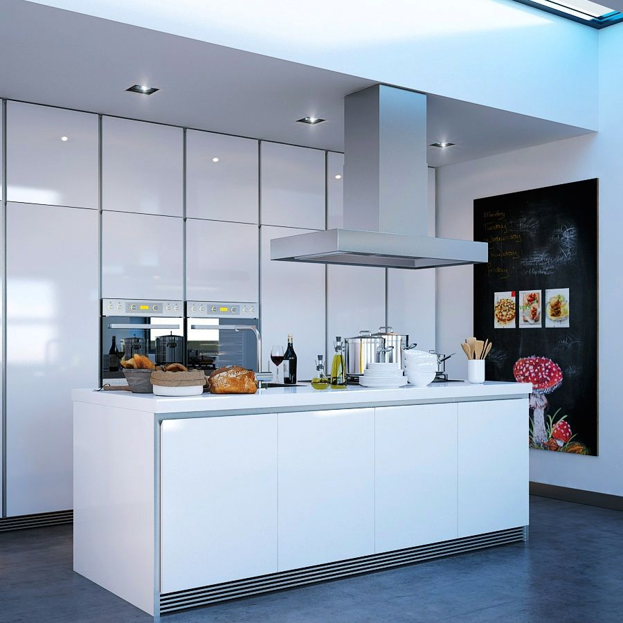 In the interior, the Modern Kitchen Island was seamlessly integrated ...