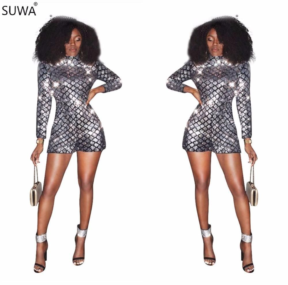7ebc407423 SUWA Winter New Design Rompers Women Jumpsuit Silver Sequin Sexy Jumpsuit  One Piece Long Sleeve Shorts Playsuit Q040